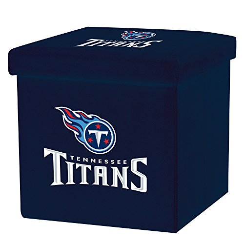 Franklin Sports NFL Tennessee Titans Storage Ottoman with Detachable Lid 14 x 14 x 14 - -