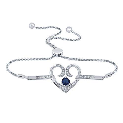 1//10 ct Round White Natural Diamond Created Blue Sapphire Heart Bolo Bracelet For Womens Teens