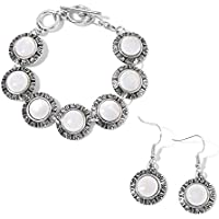 """White Shell Black Oxidized Stainless Steel Bracelet and Earrings Jewelry Set For Women Size 7.50"""""""