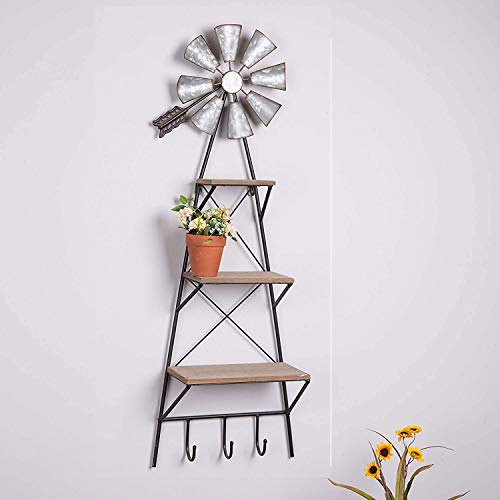 Glitzhome 3-Tier Wall Basket with Windmill Wall Basket Hanger 38 H Wall Basket Decor Storage Rustic Farmhouse Style Wall Basket with Hooks Wind Spinner for Books and Flower Pot Hanging Windmill
