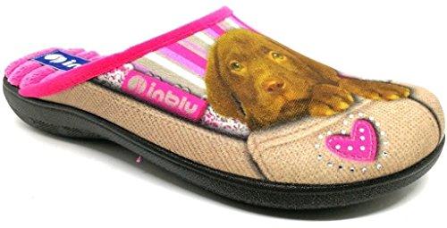 INBLU BQ000131 Pantofole pianelle Ciabatte Slippers Donna Panno Microfibra Tortora