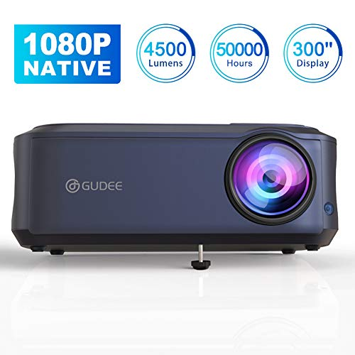 Video Projector, GuDee Native 1080P Full HD Movie Projector for Home Theater, 5000 Lux Overhead Projector for Business PowerPoint Presentations, Compatible with Laptop, Smartphone, HDMI, USB