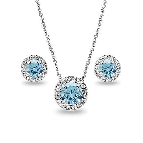 Sterling Silver Light Blue & Clear Round Halo Necklace & Stud Earrings Set Made with Swarovski Crystals