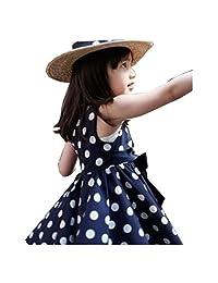 Flank 1PC Kids Children Clothing Polka Dot Girl Chiffon Sundress Dress (100, Blue)