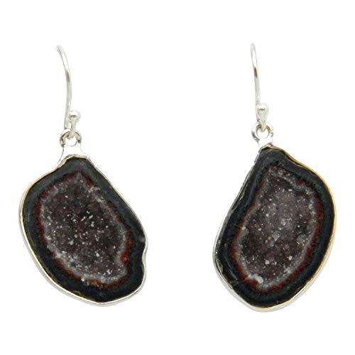 Fundamental Rockhound Products: Natural Tabasco Geode Earrings Amethyst Crystal Center 925 Sterling - Amethyst Silver Geode Sterling