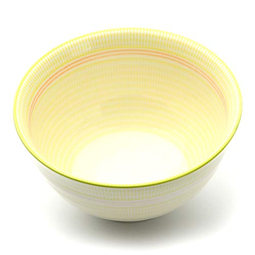 Sunbright Porcelain Bowls Set of 6 - for Soup, Pasta, Cereal, Desserts, 21-Ounce, Yellow