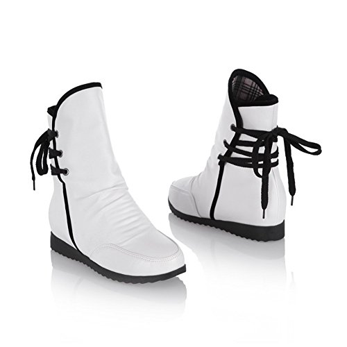 and Womens Bandage White Toe US Kitten Boots Closed AmoonyFashion Solid with Heels Platform 5 7 Round M B PU PSdCWx