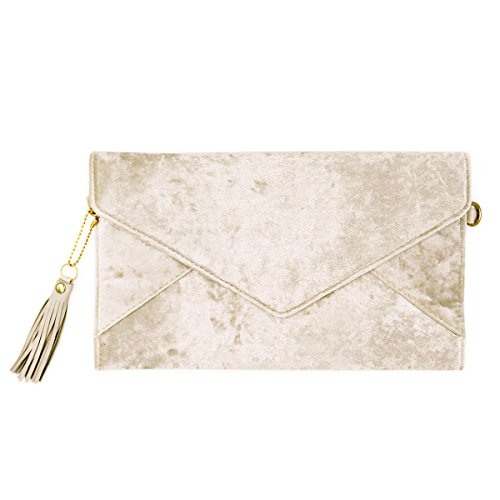 - Premium Large Crushed Velvet Tassel Envelope Flap Clutch Evening Bag Purse, Ivory