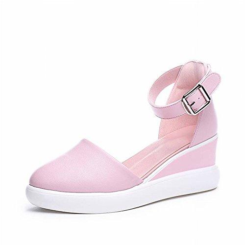 TYERY Neto Rojo Blanco Zapatos Baotou Pendiente con Aumento de Sandalias Femeninas Transpirables Zapatos Casuales, Rosado, 35