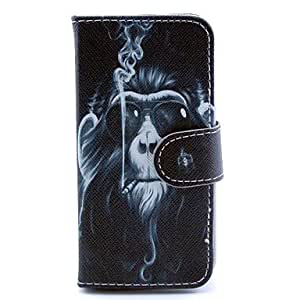 PEACH ships in 48 hours Smoking Monkey Design PU Leather Full Body Case with Stand and Card Slot and Money Holder for iPhone 5C