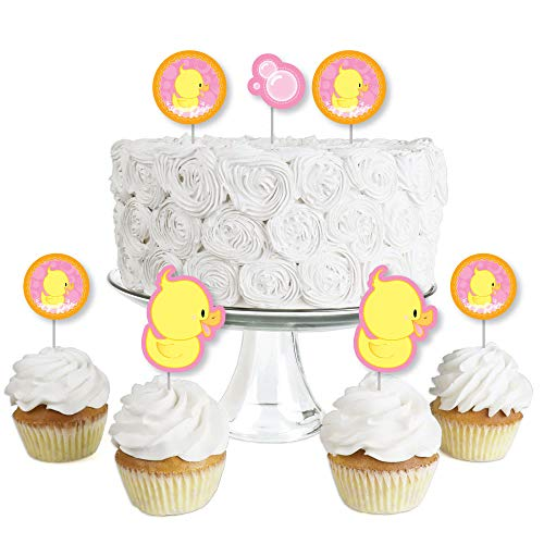 Pink Ducky Duck - Dessert Cupcake Toppers - Baby Shower or Birthday Party Clear Treat Picks - Set of 24 ()