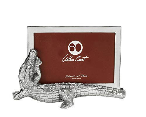 Arthur Court Designs Aluminum Alligator Photo Picture Frame Holds 4x6 ()