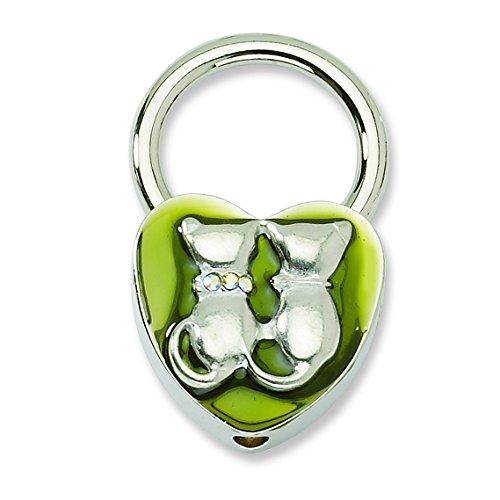 1928 Jewelry Kitty Cat Olive Green Enamel Heart Key Ring