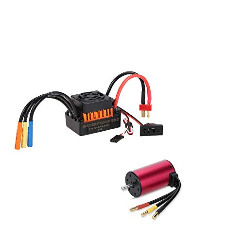 (Rcharlance S3660 3300KV Brushless Motor Sensorless 5mm with 60A ESC Brushless Speed Controller Combo Set Upgrade Power System for 1/10 RC Car)