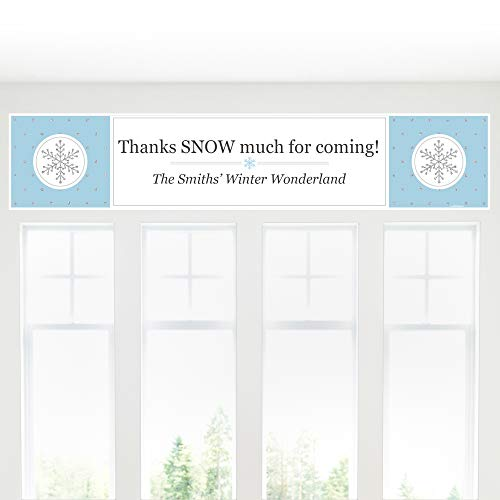 Custom Winter Wonderland - Personalized Snowflake Holiday Party & Winter Wedding Decorations Banner -
