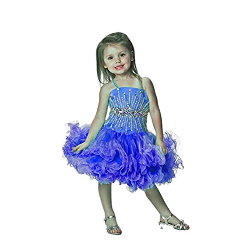 SanLing little Girls' Crystal Sequins Chest Pageant Dress Child-5 Blue by Sanling