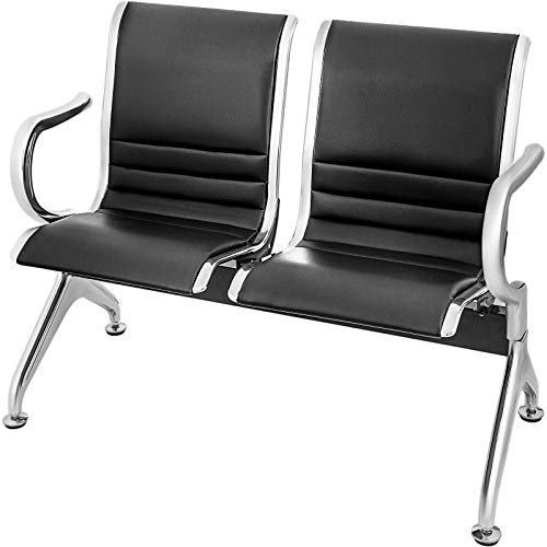VEVOR Waiting Room Chairs 2 Seat PU Leather Business Reception Bench Waiting Chairs for Office Barbershop Salon Airport Bank Hospital Market(2 Seat,Black) (Leather Faux Reception)