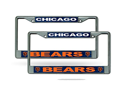 Rico Chicago Bears Chrome Metal (2) License Plate Frame Set