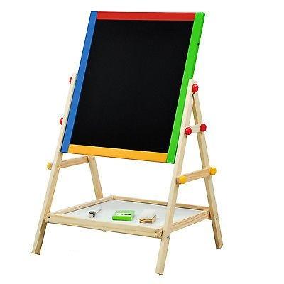 Adjustable Children Kids 2 In 1 Black / White Wooden Easel Chalk Drawing - Price Uk Vogue