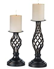 Pcs of 2 Metal Vintage Twist Style Candle Holder for 3 inches Dia Candle - Antiquated Pillar Candleholder - Vases Holder for Wedding Centerpieces - Party Dinner Event Centerpiece Home Decor …