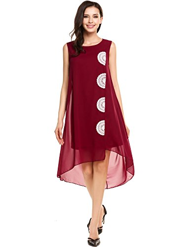 Zeagoo Women's Summer Chiffon Flowy Sleeveless Lace Embroidered Dress