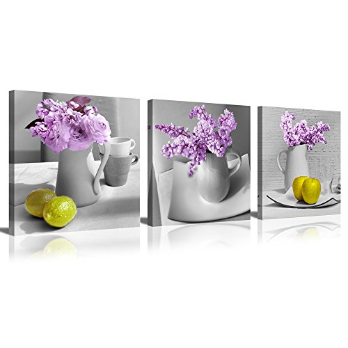 Mode Art 3 Panels Elegant Lilac Light Purple and Pink Flowers in White China Bottle with Bright Yellow Lemon Modern Photo Printed Painting for Home Wall Decor (12