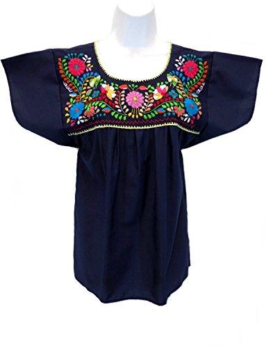 [Leos Mexican Imports Mexican Puebla Blouse (Large, Navy Blue)] (Cinco De Mayo Dress)
