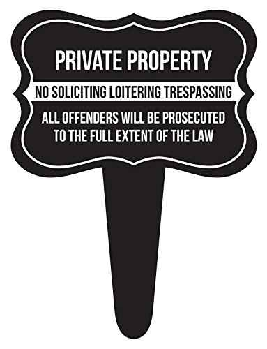 (iCandy Combat Private Property No Soliciting Loitering Trespassing Home Yard Lawn Sign, Black, 12x16, Single)