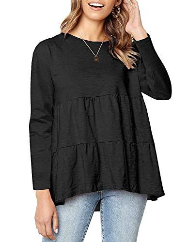Women Long Sleeve Loose T Shirt Babydoll Peplum Tee Tops Casual Blouse Shirts for Juniors