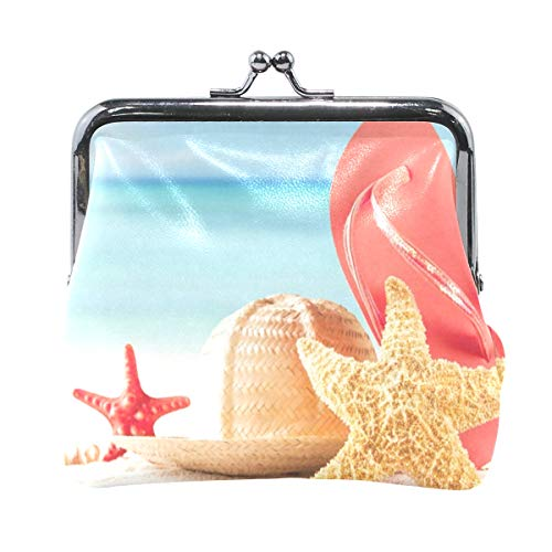 Coin Purse Starfish With Flip Flop Womens Wallet Clutch Bag Girls Small Purse ()