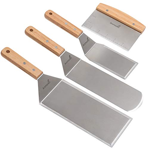 Stainless Steel Metal Spatula Set - Teppaniyaki Spatlas - Griddle Scraper Flat Spatula Pancake Flipper Hamburger Turner - Metal Utensil great for BBQ Grill Flat Top Cast Iron Griddle Accessories - Com