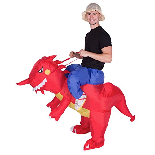 Dragon Costumes For Adults (Bodysocks - Inflatable Dragon Piggyback Mythical Blow Up Animal Adult Fancy Dress Costume)