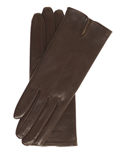 Fratelli Orsini Everyday Women's Italian Silk/Cashmere Lined Leather Gloves Size 8 1/2 Color Brown