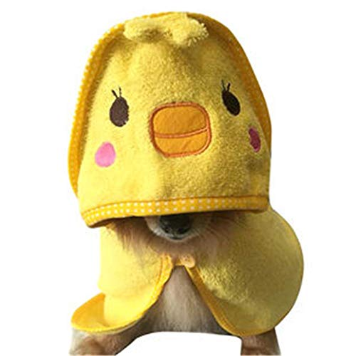 (Cartoon Style House Pet Bathing Towel Robe Dress Absorbent Cotton Doggy/Cat Bathrobe House Pet Clothing (Color : Yellow, Size : M))