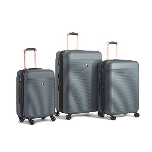 Delsey Luggage Panorama 3 Piece Expandable Spinner Trolley Luggage Set (Pearl Grey)