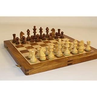 """Folding Wood Chess Set, 14"""""""