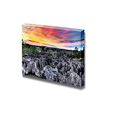 Sunset of The Unique Landscape at The Tsingy De Bemaraha Strict Nature Reserve in Madagascar - Canvas Art Wall Art - 24