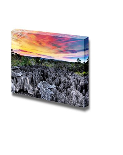 Sunset of the Unique Landscape at the Tsingy De Bemaraha Strict Nature Reserve in Madagascar Wall Decor ation