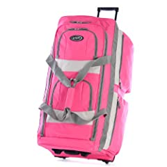 """This 33 inch rolling duffel is constructed of Supreme """"PROTECFLON"""" Polyester with 1200 D. Poly. Recessed metal ball bearing in-line skate wheels. Hide-away retractable handle. A total of 8 convenient pockets allow for maximum packing versatil..."""