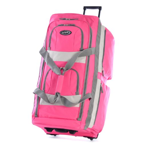 (Olympia 8 Pocket Rolling Duffel Bag, Hot Pink)