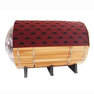 ALEKO SB7ABCE Red Cedar Wood Barrel Sauna with Transparent Wall for 7 People