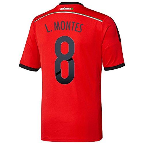 不運服を洗うコントラストAdidas L. MONTES #8 Mexico Away Jersey World Cup 2014/サッカーユニフォーム メキシコ ホーム用 ワールドカップ2014 背番号8 L.モンテス