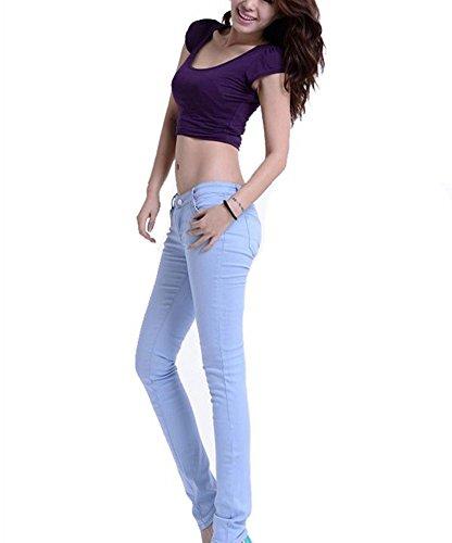 Runyue Pantalones A Casuali Alta Militare Donna Slim Matita Vita Marina Skinny Stretch Pantaloni Blu rqrUvB