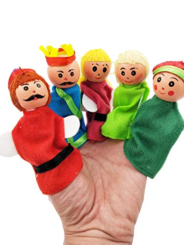 Fairy Tale Puppets Set - Muzboo Finger Puppets Set 6 Pcs - Story Time Puppets Toys - Family(King,Prince and Princess)