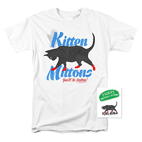 It's Always Sunny in Philadelphia Kitten Mittons T Shirt (Medium) White ()