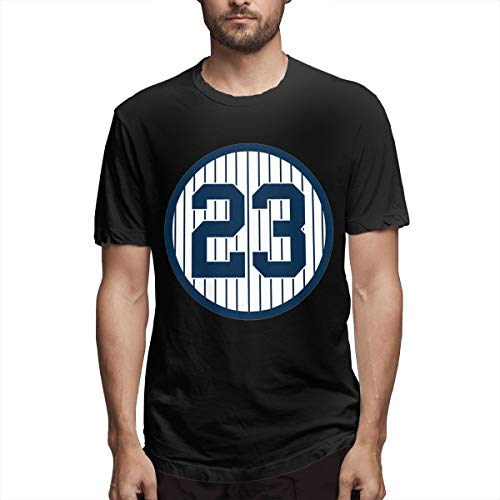 Men's Classic Solid Ultra Soft Cotton Crew Neck Don-Mattingly-Retired-Number #23 T-Shirt Multipack Black
