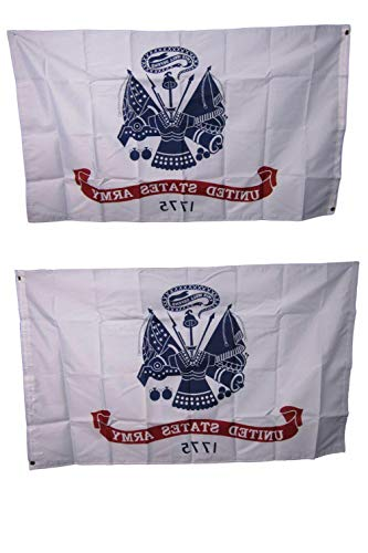 Kaputar 3X5 Army White Flag Double Sided 2 Sided United States Army Flag 200D USA Ship | Model FLG - 6791