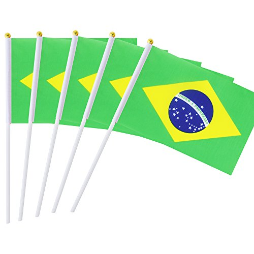 Hand Held Brazil Flag Brazilian Flag Stick Flag Mini Flag 50 Pack Round Top National Country Flags, Party Decorations Supplies For Parades,World Cup,Sports Events,International Festival (8.2