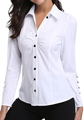 c54956f6f1724 MISS MOLY Women s Long Sleeve White Collar Shirt Button Down V Neck Ruched  Front Tops Work