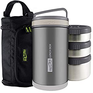 Home Puff Double Wall Vacuum Insulated – Stainless Steel Lunch Box With 3 Leak Proof,1700 Ml – Grey